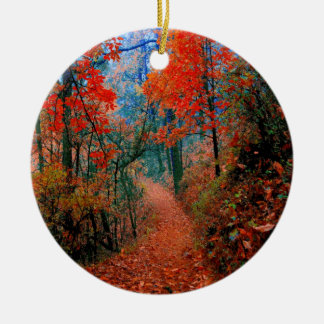 Painted Forest Autumn Flame Watercolor Ornament