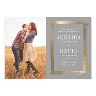 Painted Frame photo faux foil save the date Card