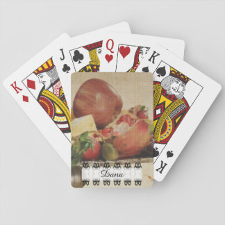 Painted Fruit with black and white banner Playing Cards