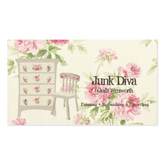 Painted Furniture Flower Dresser Chair Pink Roses Pack Of Standard Business Cards