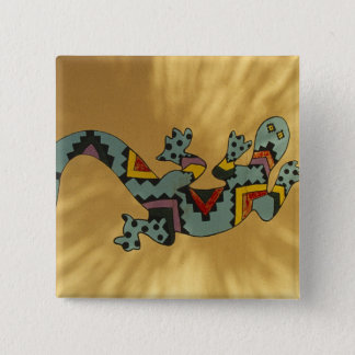 Painted gecko lizard on wall, Tucson, Arizona, 15 Cm Square Badge