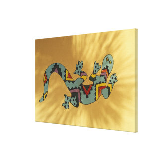 Painted gecko lizard on wall, Tucson, Arizona, Canvas Print