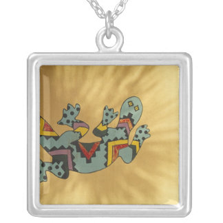 Painted gecko lizard on wall, Tucson, Arizona, Silver Plated Necklace