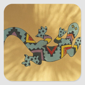 Painted gecko lizard on wall, Tucson, Arizona, Square Sticker