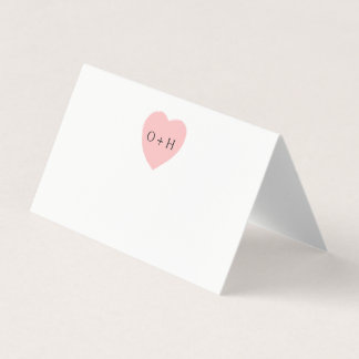 Painted Heart Wedding Folded Place Cards