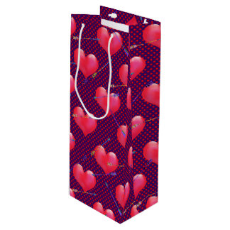 Painted Hearts and Arrows   Valentine's Day Wine Gift Bag