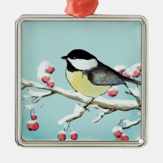 Painted holiday background with titmouse christmas ornament