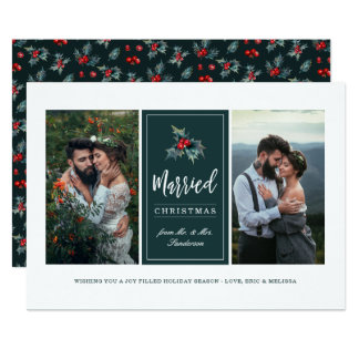 Painted Holly | Married Christmas Two Photo Card