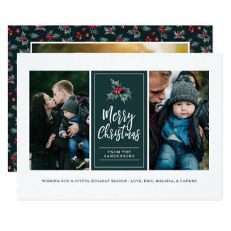 Painted Holly | Merry Christmas Three Photo Card