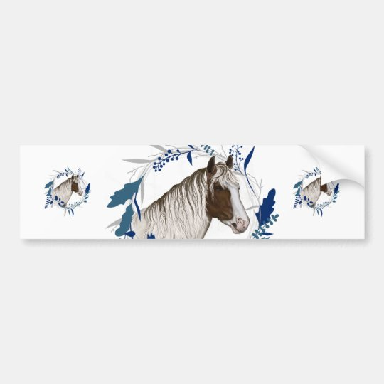 Painted Horse Blue Holiday Wreath Bumper Sticker