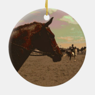 Painted Horse Circle Ornament