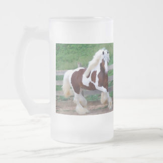 Painted Horse Frosted Glass Mug