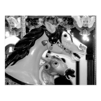 Painted Horses Carousel Close Up Postcard
