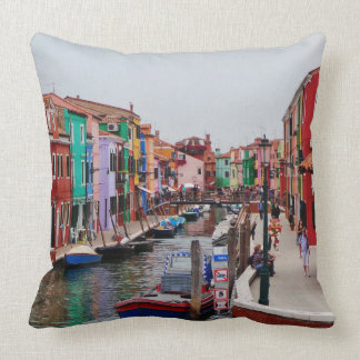 Painted Houses Italy Venice Throw Pillow