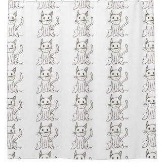 Painted Kitty Shower Curtain