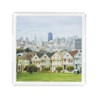 Painted Ladies, Victorian houses and skyline Acrylic Tray