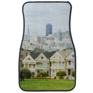 Painted Ladies, Victorian houses and skyline Floor Mat