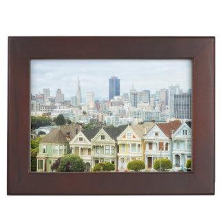 Painted Ladies, Victorian houses and skyline Keepsake Box