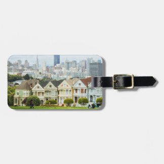 Painted Ladies, Victorian houses and skyline Luggage Tag