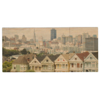 Painted Ladies, Victorian houses and skyline Wood USB 2.0 Flash Drive