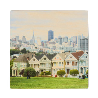 Painted Ladies, Victorian houses and skyline Maple Wood Coaster