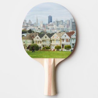 Painted Ladies, Victorian houses and skyline Ping Pong Paddle