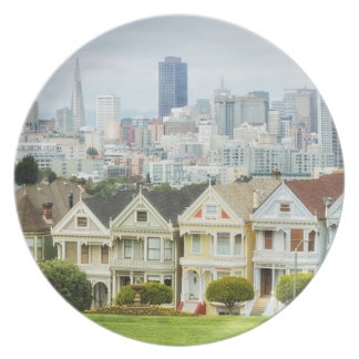 Painted Ladies, Victorian houses and skyline Plate