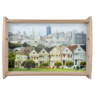 Painted Ladies, Victorian houses and skyline Serving Tray