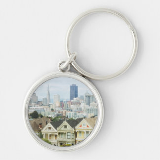 Painted Ladies, Victorian houses and skyline Silver-Colored Round Key Ring