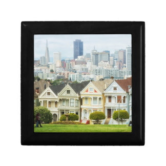 Painted Ladies, Victorian houses and skyline Small Square Gift Box