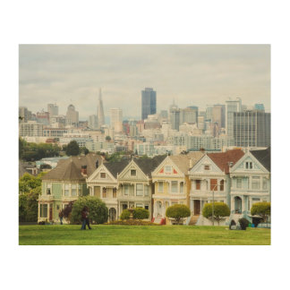 Painted Ladies, Victorian houses and skyline Wood Wall Decor