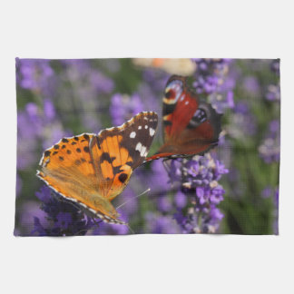 painted lady and peacock butterfly tea towels
