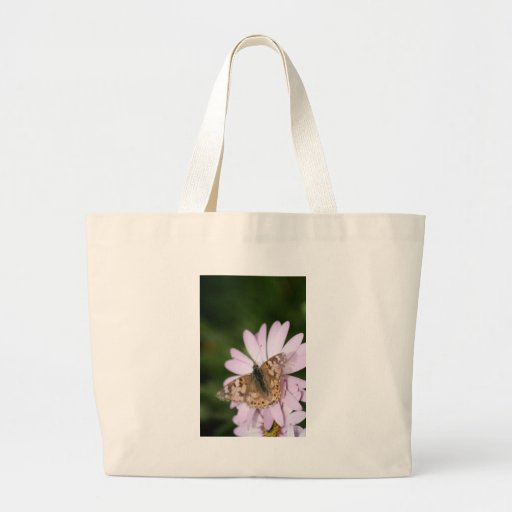 Painted Lady Butterfly on Pink Flower Tote Bag