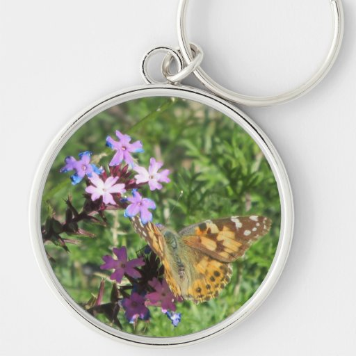 Painted Lady Butterfly on Purple Flowers Keychain
