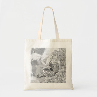Painted Lady Butterfly Sketch Effect Budget Tote Bag