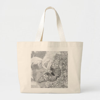 Painted Lady Butterfly Sketch Effect Jumbo Tote Bag