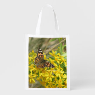 Painted Lady Butterfly Reusable Grocery Bags
