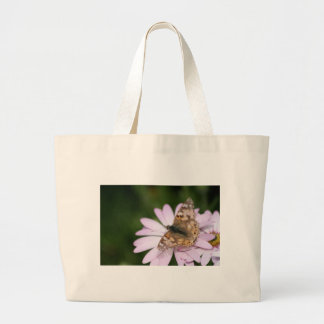 Painted Lady on Pink Flower Tote Bag