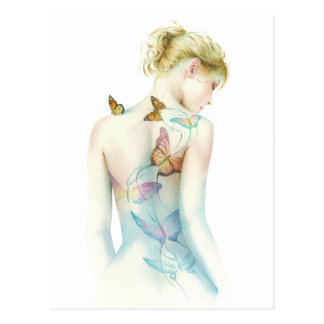 """Painted Lady"" Tattoo fantasy Postcard"