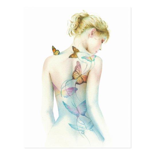 """Painted Lady"" Tattoo fantasy Postcard"