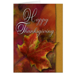 Painted leaf on Gold-Thanksgiving Card