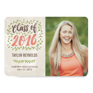 Painted Leaves Graduation Announcement Invitation