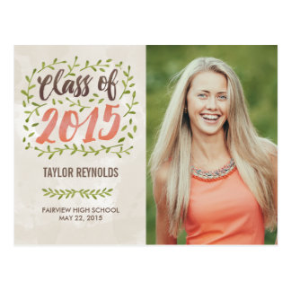 Painted Leaves Graduation Announcement Invitation Postcard