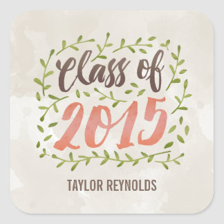 Painted Leaves Graduation Stickers