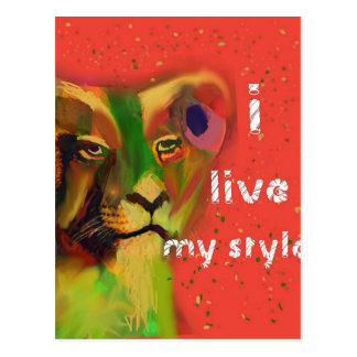Painted lion with message postcard