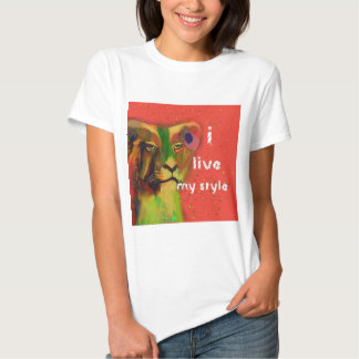 Painted lion with message tee shirt