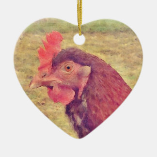 Painted Little Red Hen Ceramic Heart Decoration