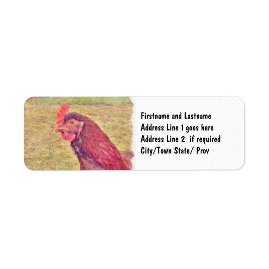 Painted Little Red Hen Return Address Label