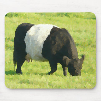 Painted Look Belted Galloway Cow in Field Mouse Mat