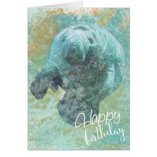 Painted Manatee Happy Birthday Card